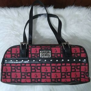 Red and black Baby Phat logo purse